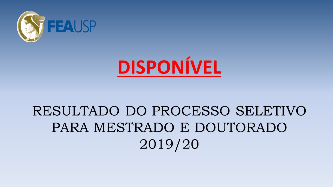 RESULTADO PROCESSO SELETIVO PPGA 2019-20