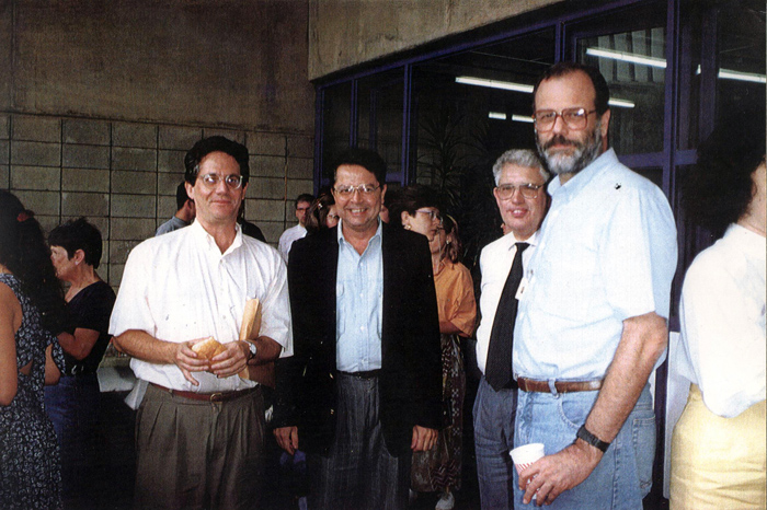 1994 - Professores da FEA na festa de final de ano_Hélio Nogueira da Cruz, Roberto Macedo e Gilson Garófalo