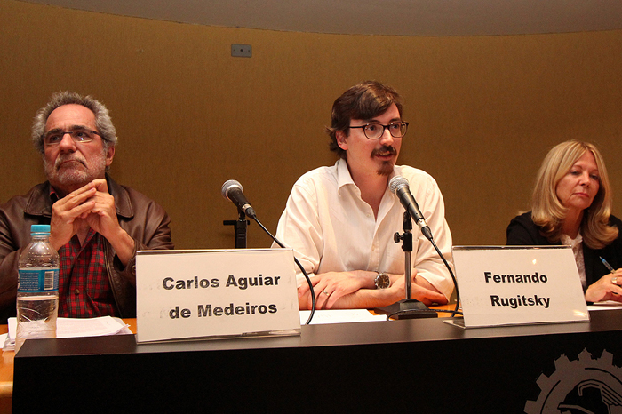 Professores Carlos Aguiar de Medeiros, Fernando Rugitsky e Lena Lavinas