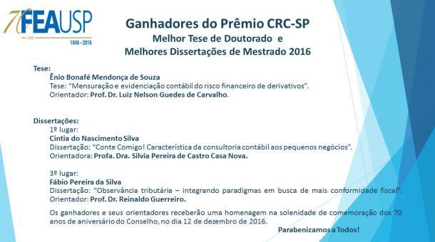 Ganhadores dos Prêmios CRC-SP 2016