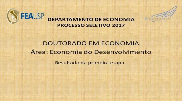 Processo Seletivo - Doutorado em Economia - Resultado da primeira etapa