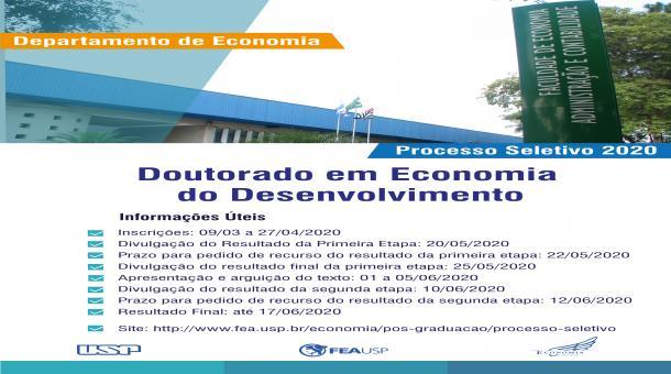 Processo Seletivo para o Doutorado em Economia - Área: Economia do Desenvolvimento 2020