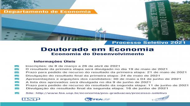 Processo Seletivo para o Doutorado em Economia - Área: Economia do Desenvolvimento 2021