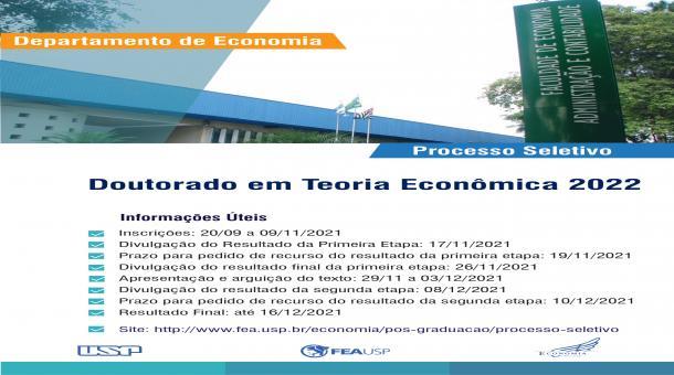 Processo Seletivo Doutorado em Teoria Econômica 2022