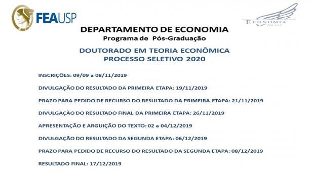 Processo Seletivo Doutorado em Teoria Econômica 2020