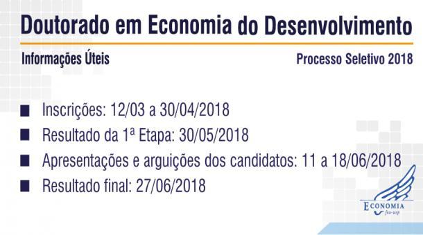 Chamada processo Seletivo para Doutorado em Economia do Desenvolvimento 2018