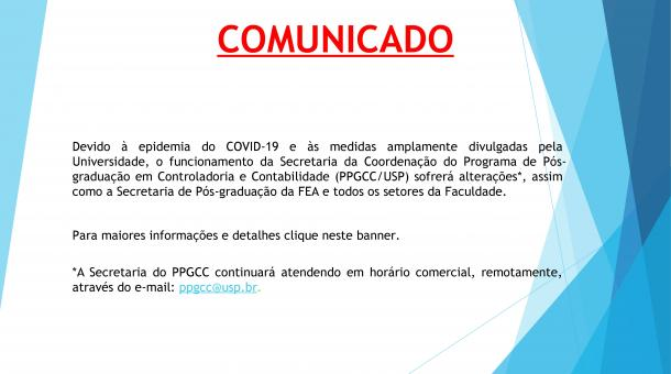 COMUNICADO - FUNCIONAMENTO PPGCC