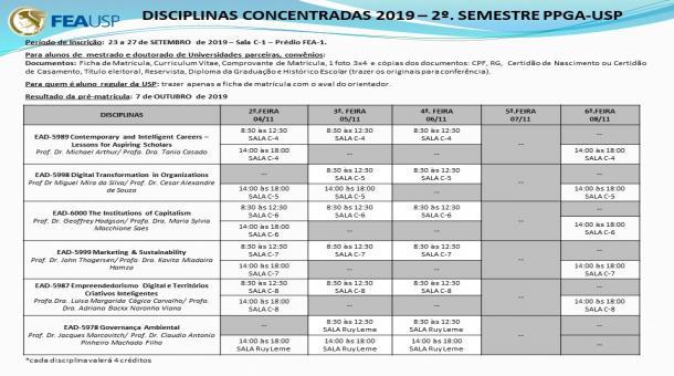 DISCIPLINAS CONCENTRADAS 2º SEMESTRE DE 2019