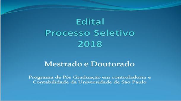 Edital Processo seletivo 2018