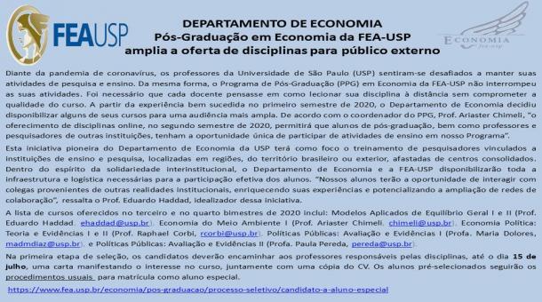 Pós-Graduação em Economia da FEA-USP amplia a oferta de disciplinas para  público externo