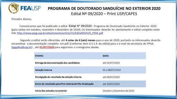 PDSE 2020 - NOVO EDITAL