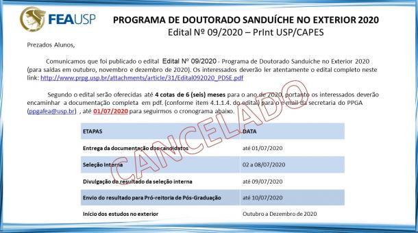 Revogado Edital Doutorado Sanduíche (PDSE)