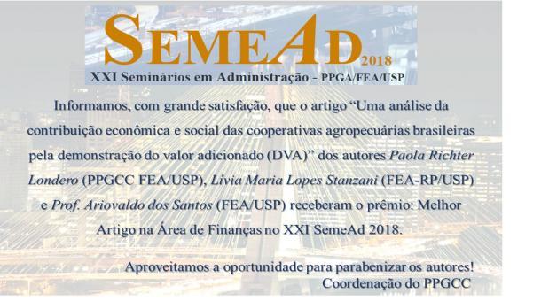Premiação de artigo SEMEAD 2018
