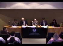 Foto da mesa de abertura do evento, composta pelos palestrantes iniciais e mediadores.